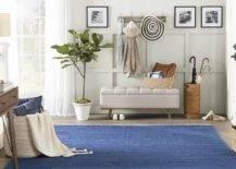 Blue rug on the floor