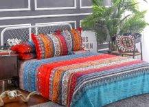 Boho printed bed sheets and pillow cases on bed