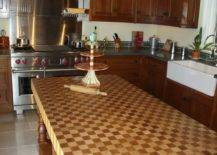Cake stand on countertop with checkerboard pattern