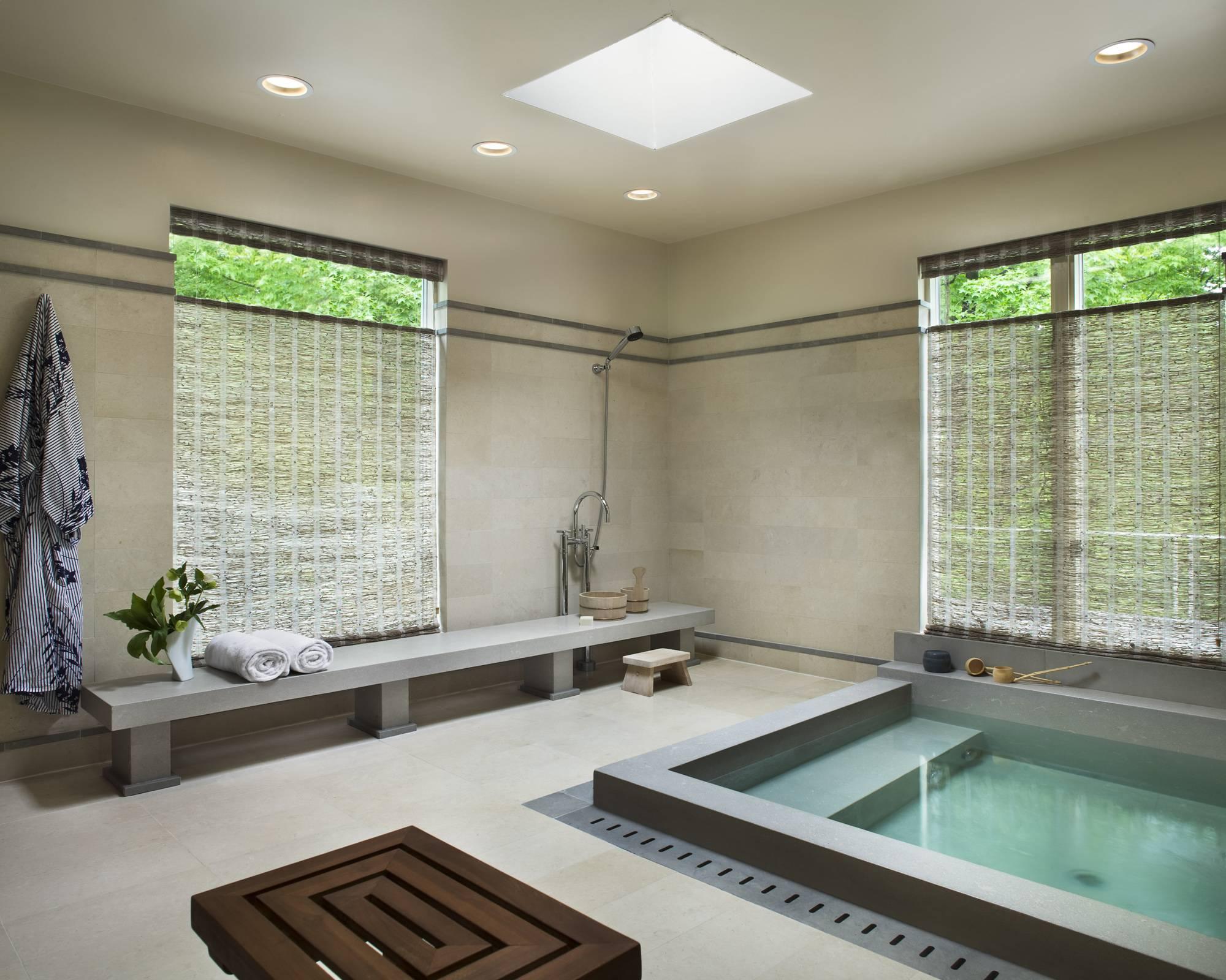 Concrete Sunken Bathtub with Pivot Window