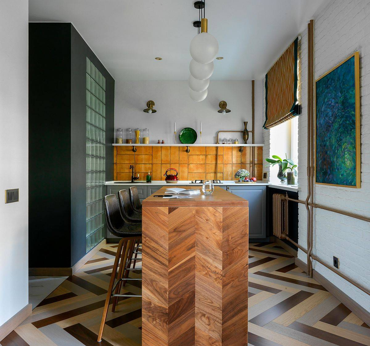 Cusom-wooden-kitchen-counter-with-chevron-pattern-and-floor-tiles-that-uher-in-herringbone-design-93601