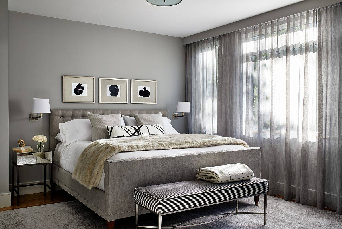 Delightful contemporary bedroom in gray proves that the color is anything but boring