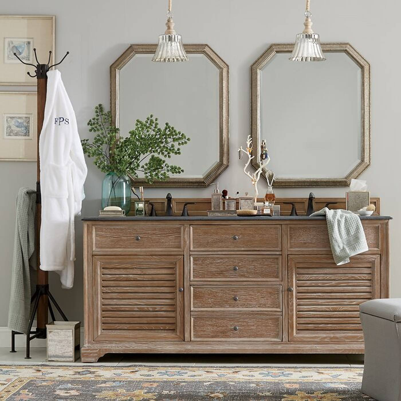 Double bathroom vanity with two mirrors and pendant lights