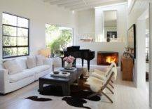 Eclectic Mix of Furniture with Cowhide Rug