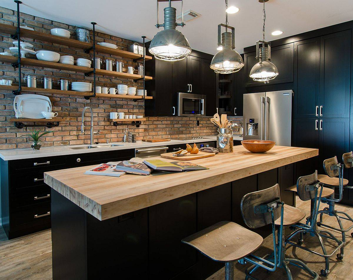 Gorgeou-industrial-kitchen-with-brick-walls-wooden-counterops-and-dark-cabinets-34377