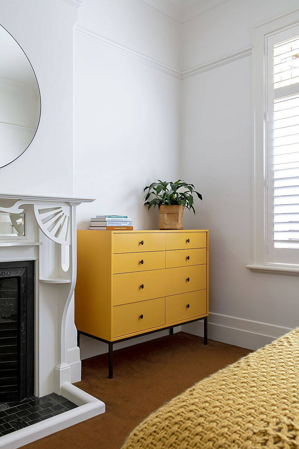 Gorgeous-orange-drawer-in-the-bedroom-adds-color-to-the-white-transitional-bedroom-89751
