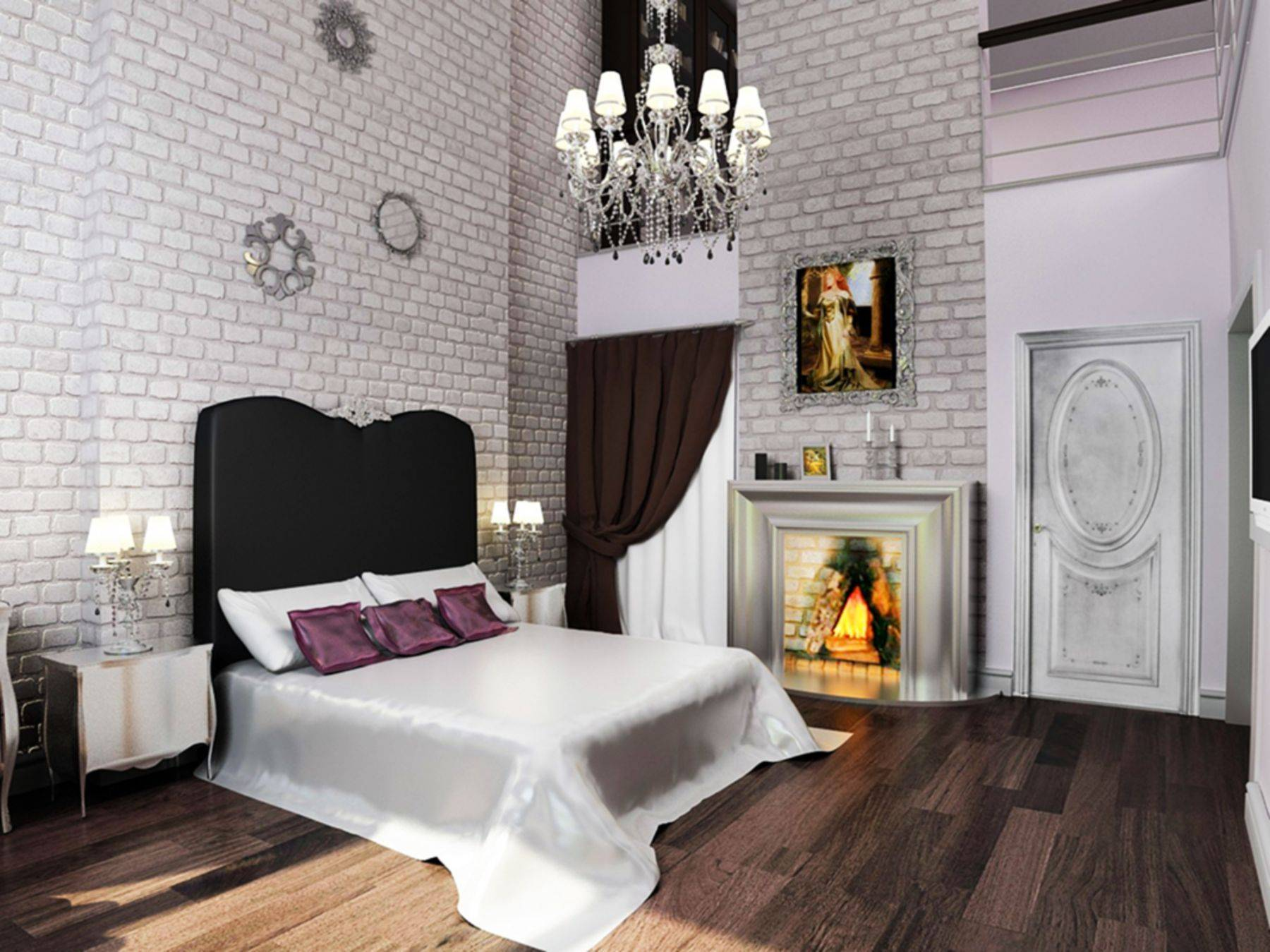 Gothic Bedroom with Brick Walls