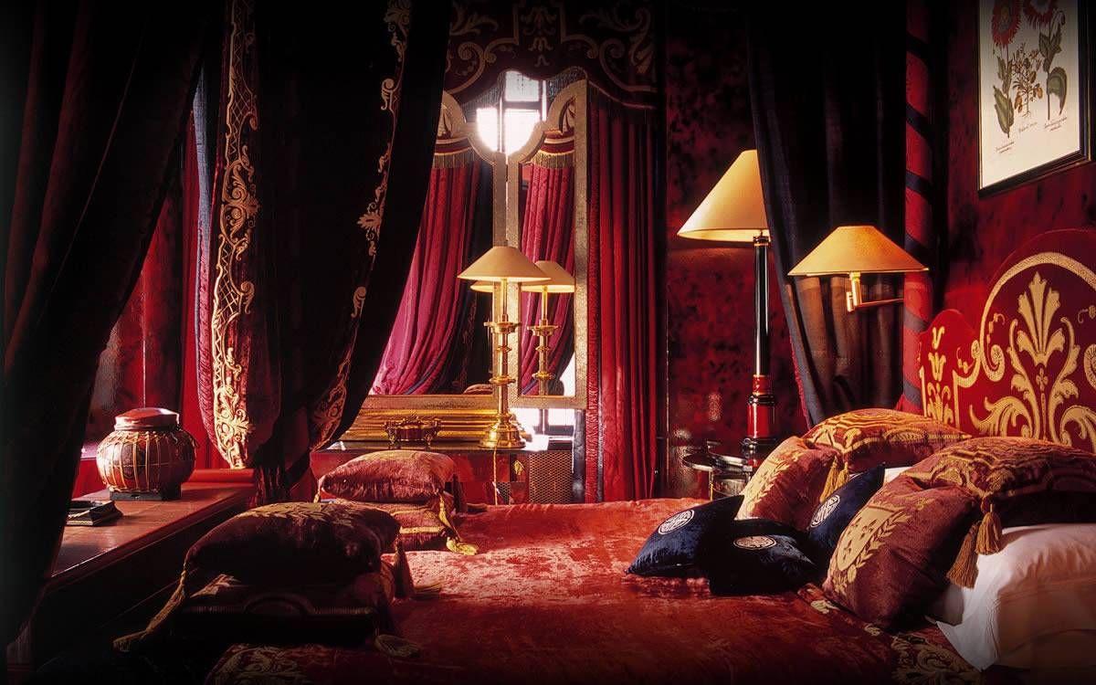 Gothic Bedroom with Velvet and Silk Fabric
