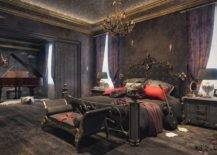 Gothic Bedroom with Velvet and Silk Fabric.