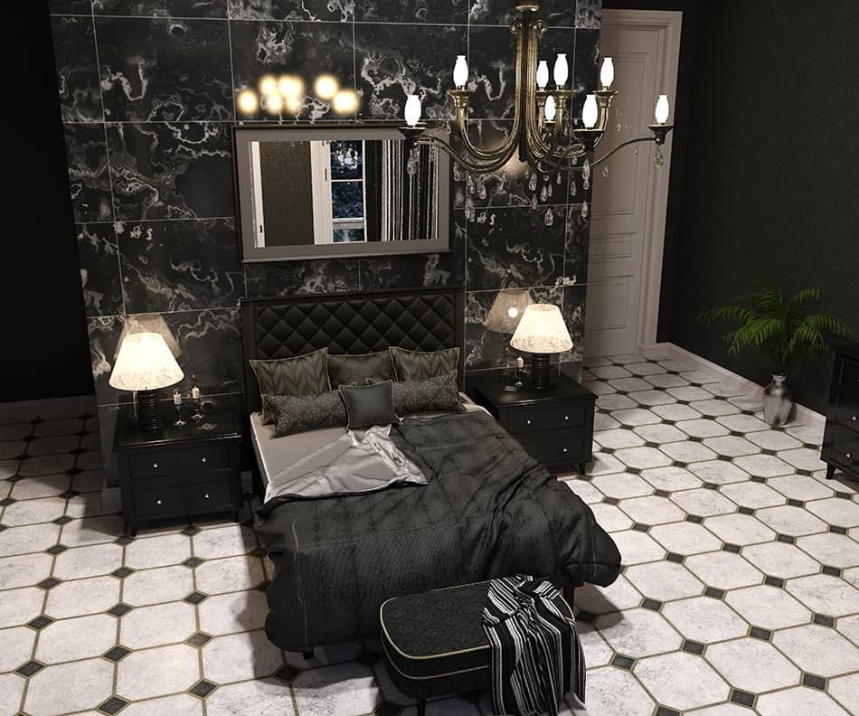 Gothic Bedroom with a Large Chandelier