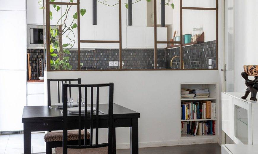 Sparkling Kitchen and Smart Dividers Revamp Tiny French Apartment