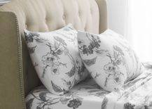 Grey floral printed pillow case and bed sheets
