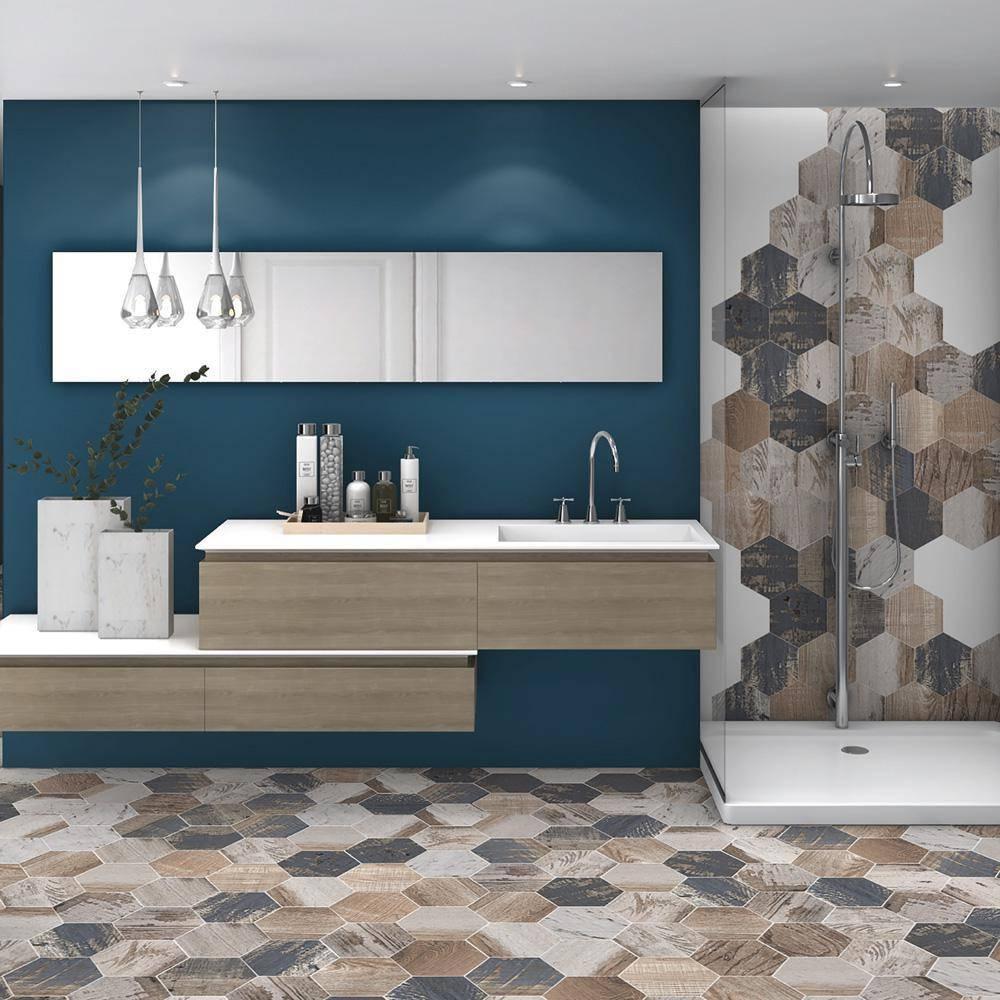 Hexagon tiles on floor and shower area