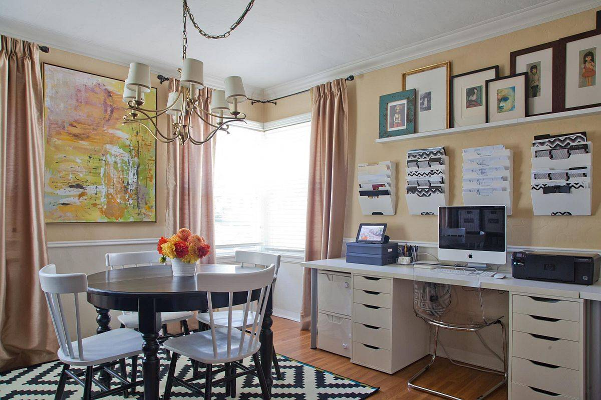 Home office and dining room rolled into one with ease inside this smart modern home