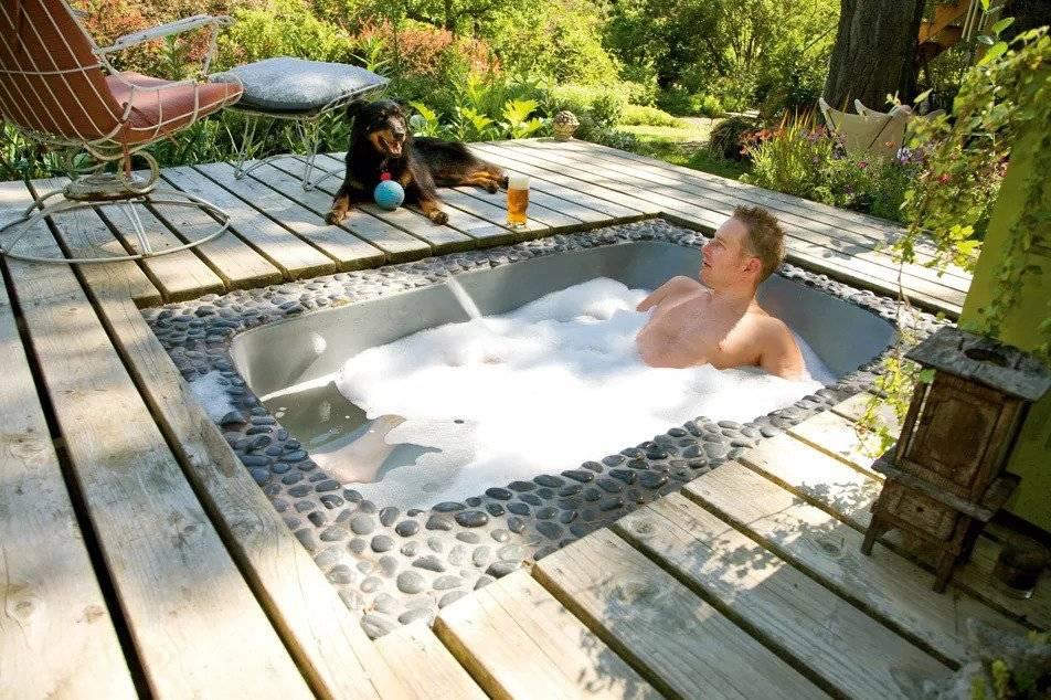 Indoor-Outdoor Sunken Bathtub