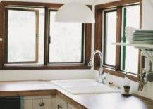 Kitchen sink with pendant light overhead