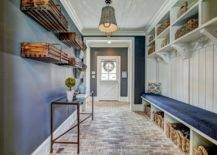 Long hallway with long bench and shelves above