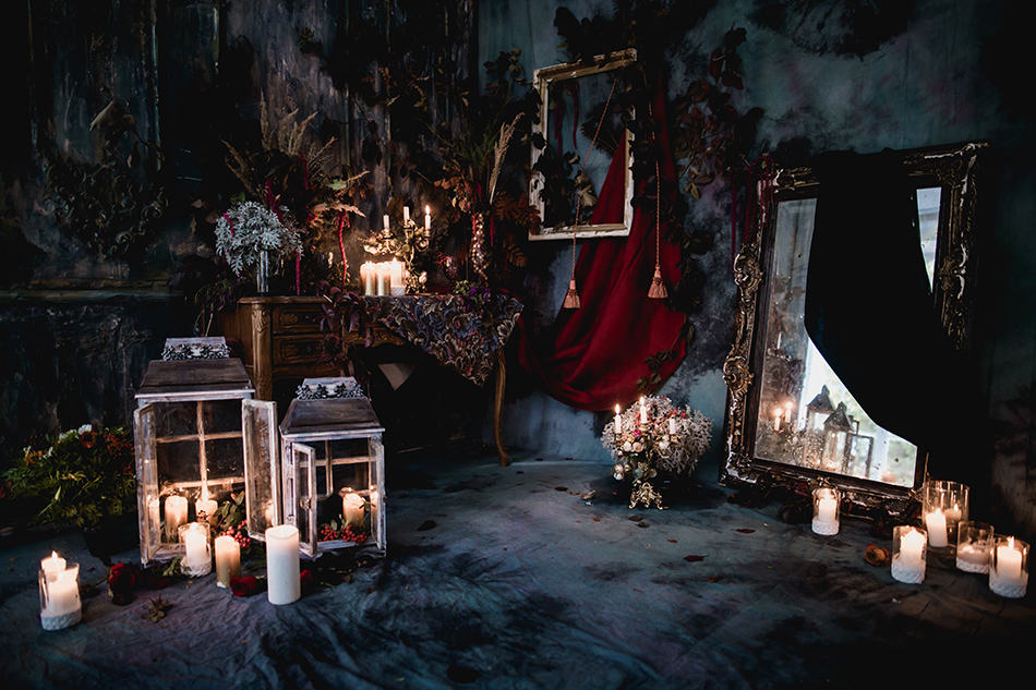 Low Lighting Gothic Bedroom with Candles