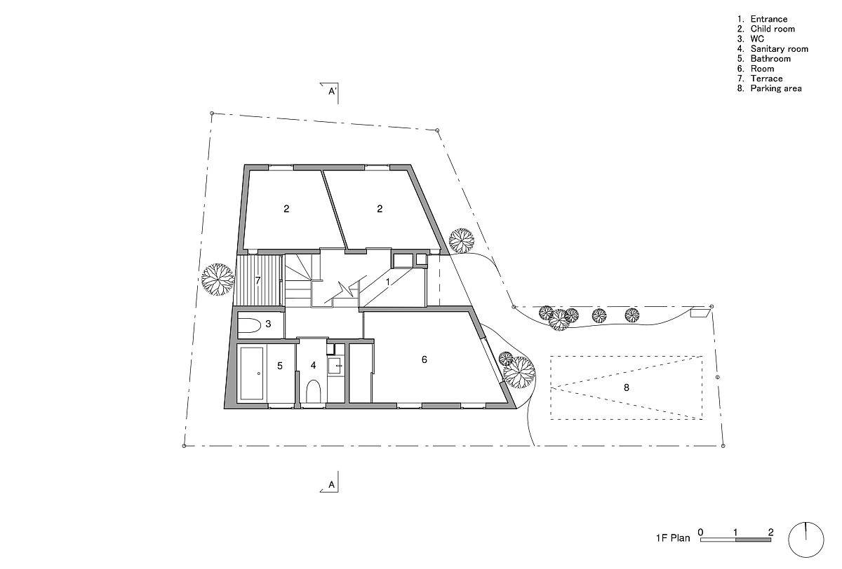 Lower level floor plan of House in Shukugawa with bedrooms and entrance