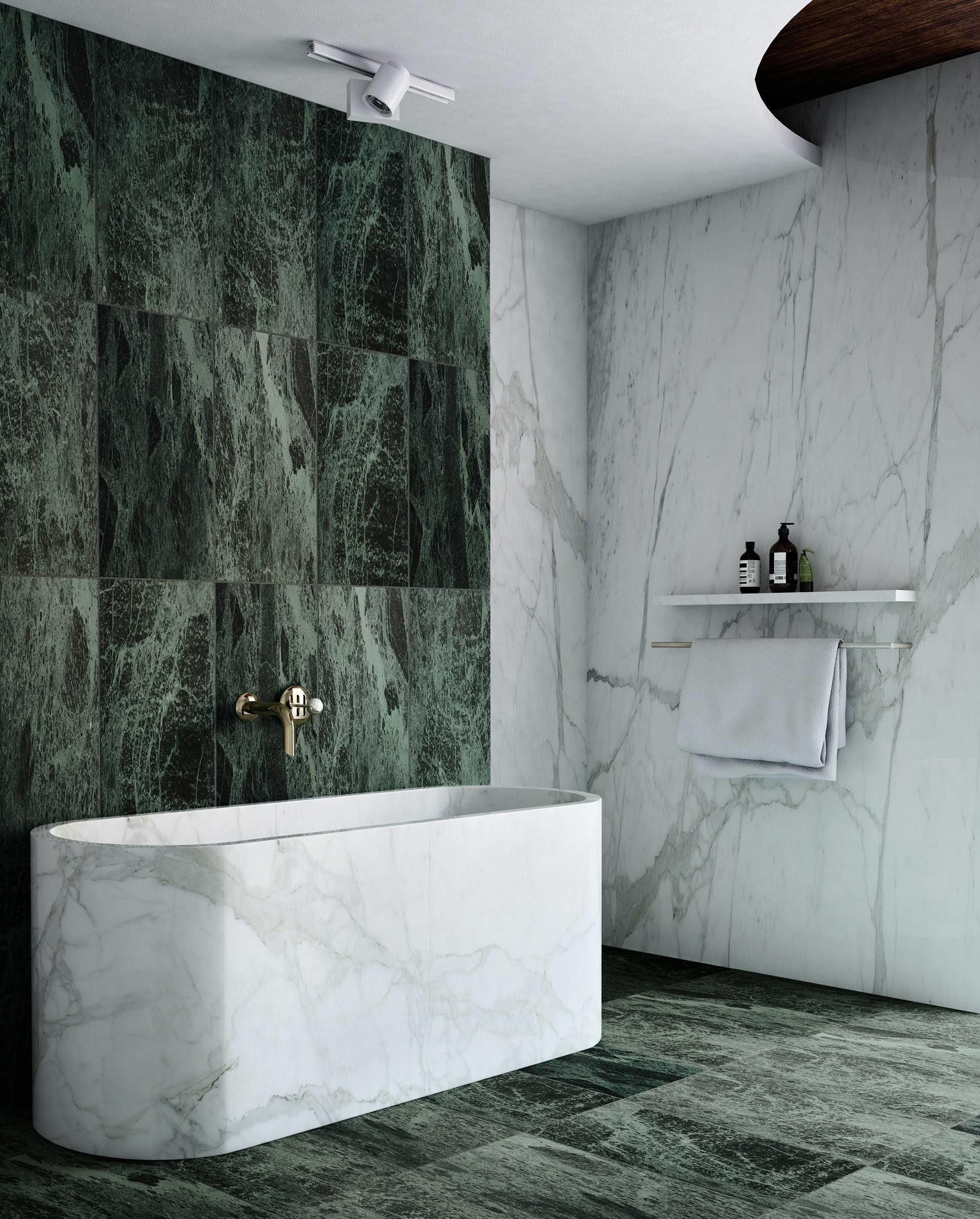 Marble tub and wall bathroom