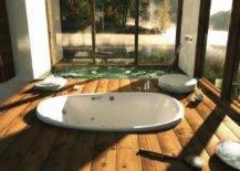 Minimalist Bathroom With White Sunken Tub