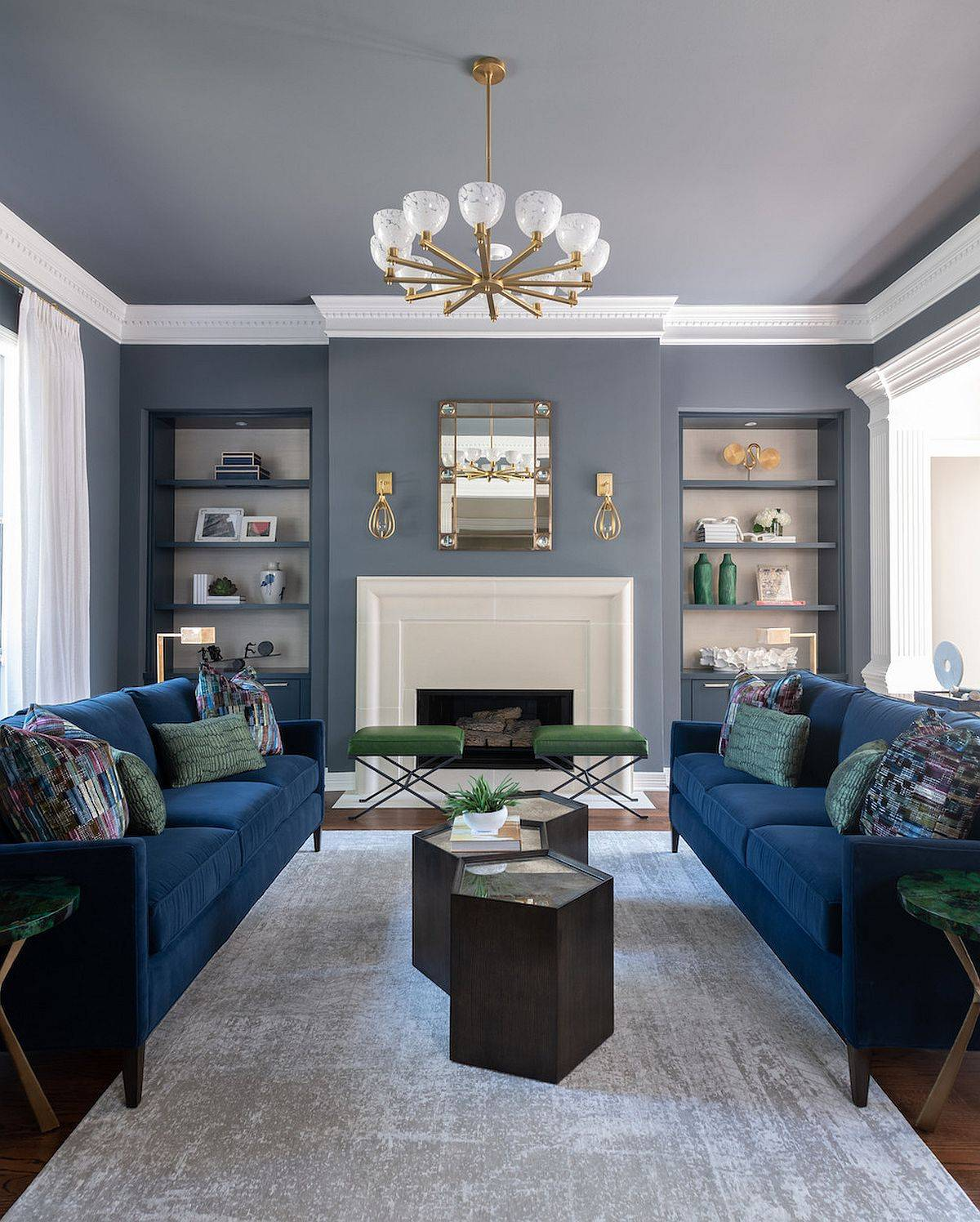 Modern-living-room-in-gray-with-bright-blue-sofas-and-space-savvy-design-51799