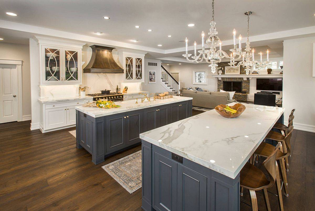 Modern-traditional-kitchen-with-marble-counertops-twin-islands-and-jointery-in-gray-88631
