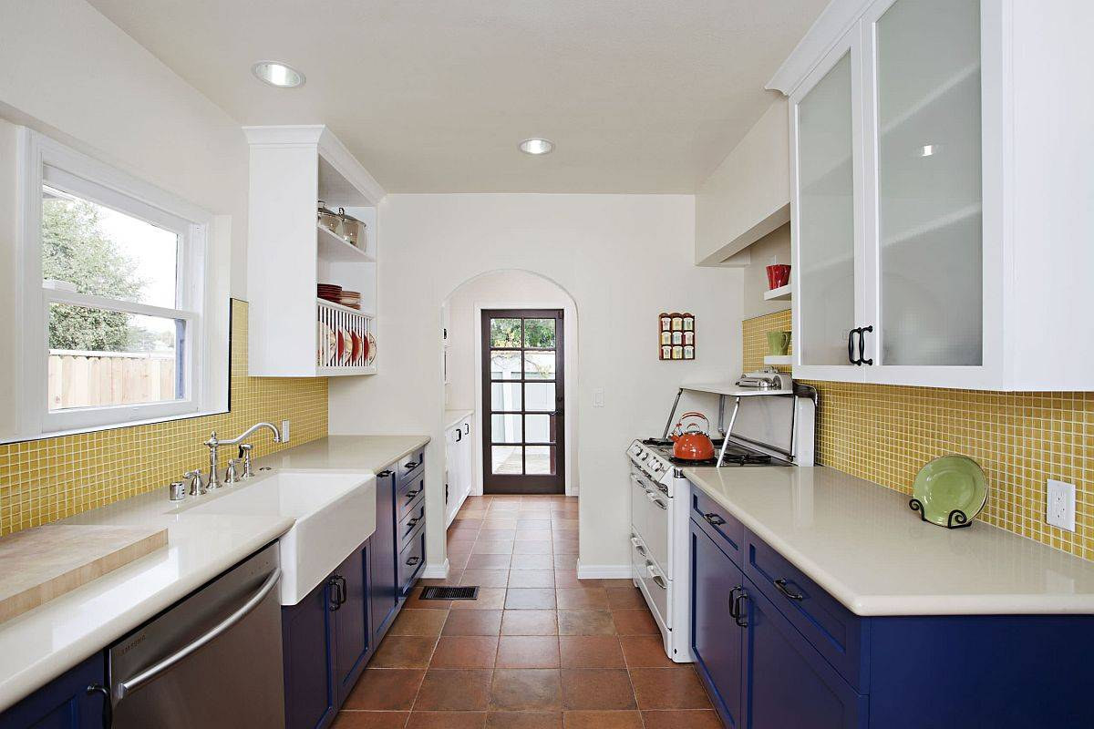 Modern-white-kitchen-with-yellow-tiled-backsplash-and-bright-blue-cabinets-12813