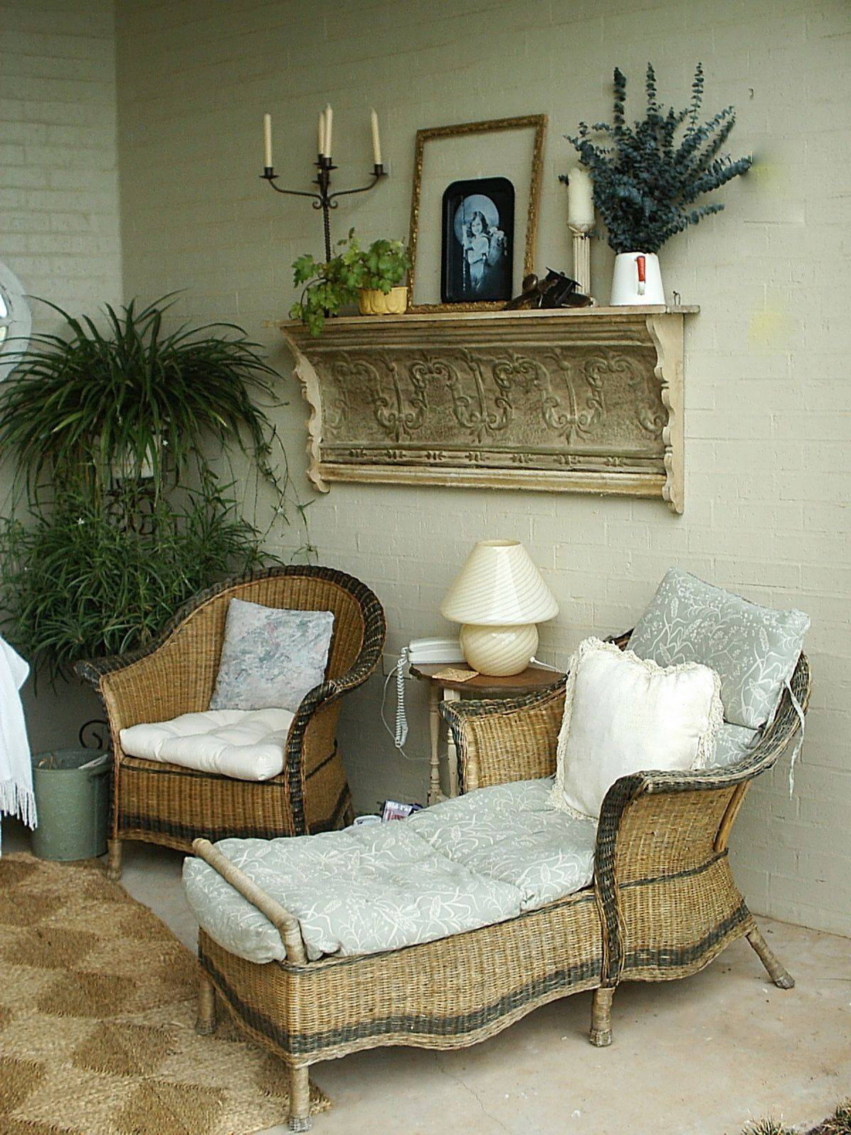 Modest shabby-chic porch design with a dash of eclectic charm thrown into the mix