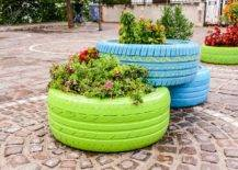 Painted Tyre Planter