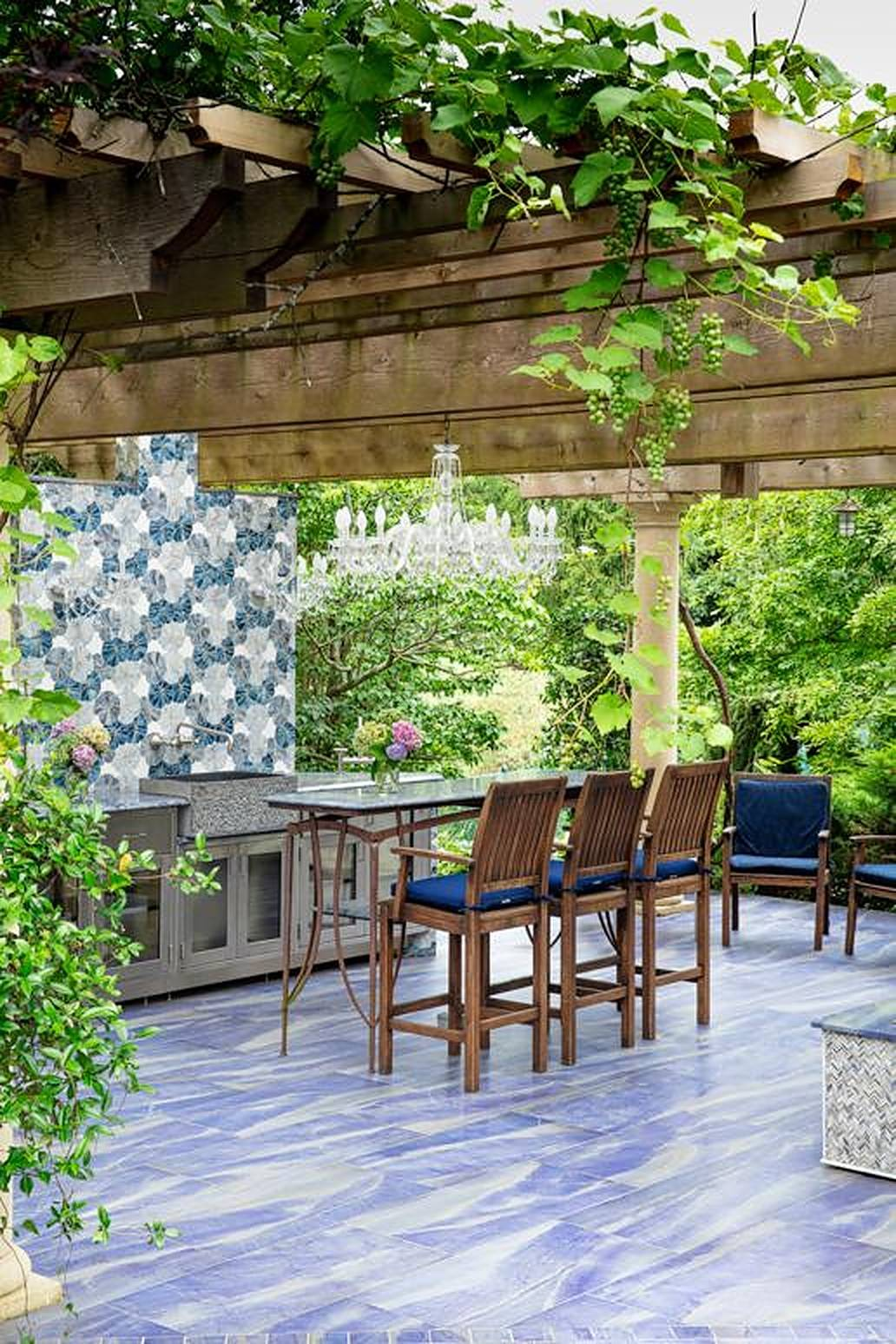Patio with blue flooring