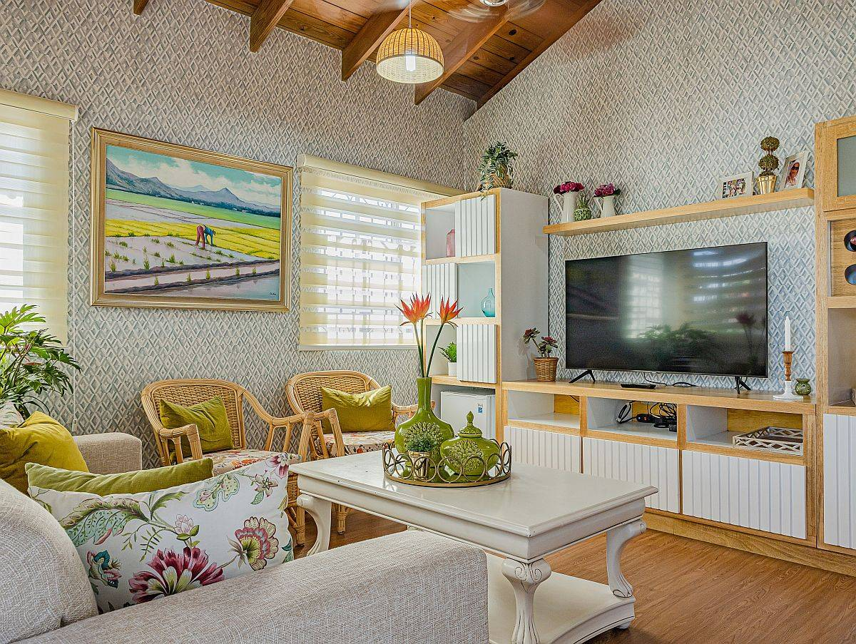 Pattern-filled beach style family room with eye-catching pops of green and yellow