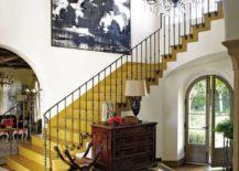 Patterned floor underneath staircase