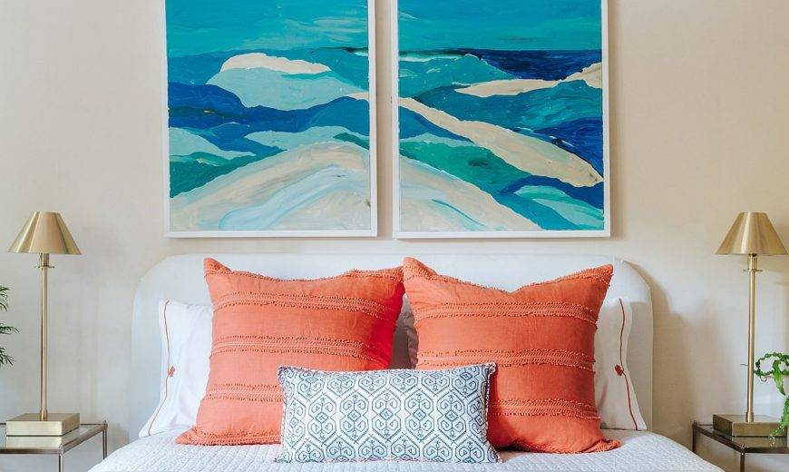 Kentfield Cottage: Modern Beach Style Home with Brilliant Pops of Blue and Coral