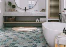 Plain blue and printed hex tiles on bathroom floor