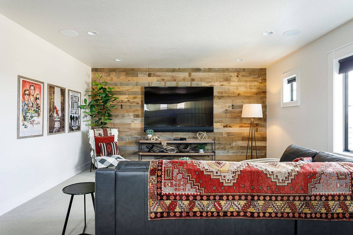 Reclaimed-wood-accent-wall-for-the-small-family-room-in-white-along-with-movie-posters-78971