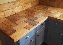 Rectangular wood cuts forming countertop