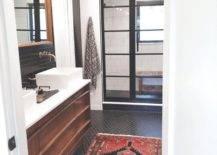 Red boho rug in bathroom floor