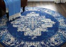 Round blue bohemian rug in doorway