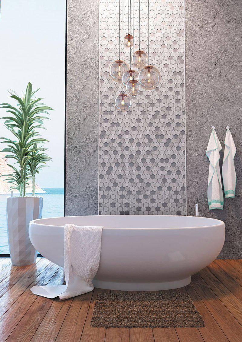 Round pendant lights above bath tub