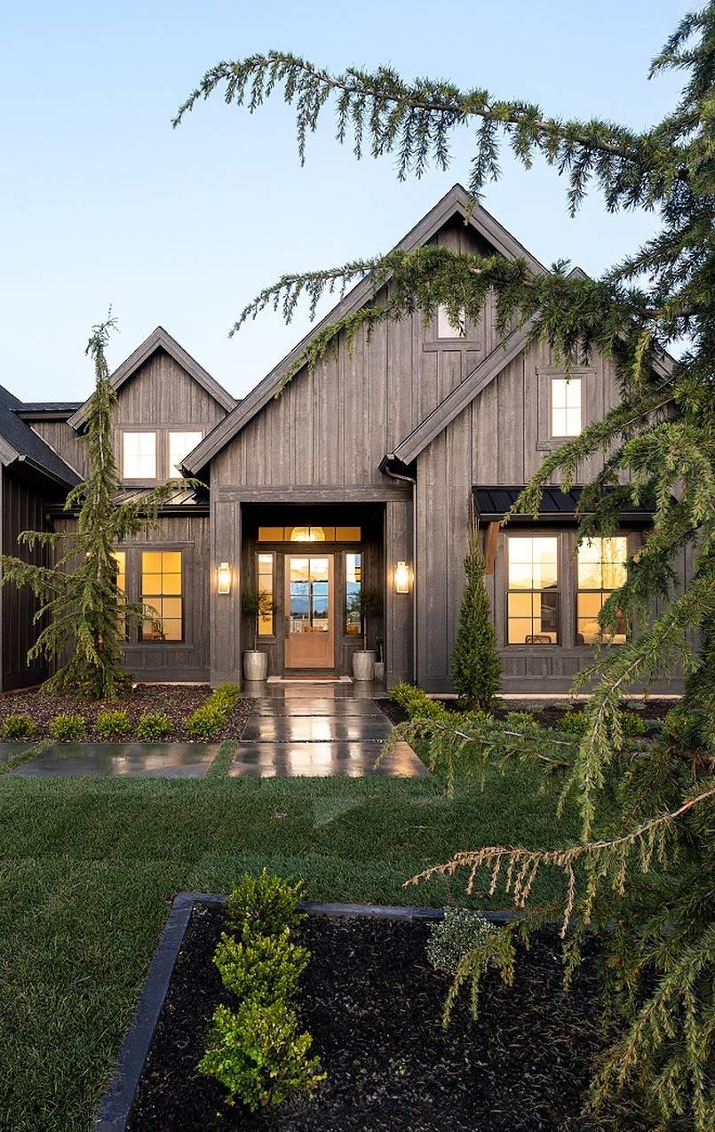 Rustic black farmhouse exterior