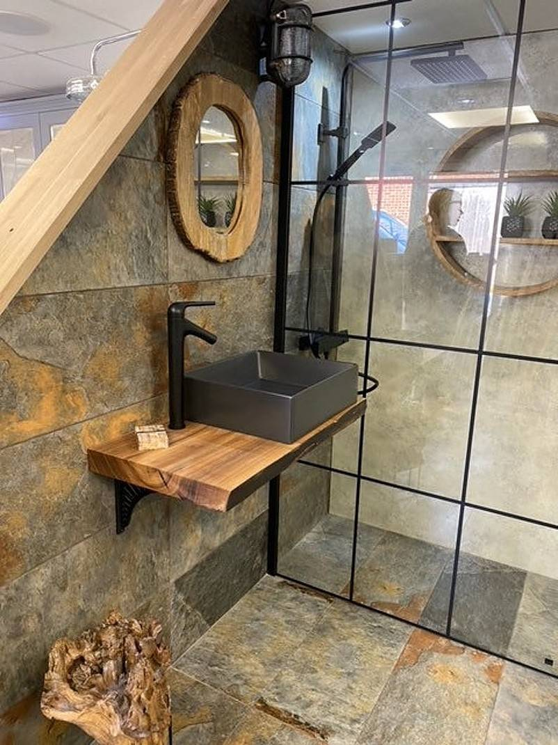 Rustic sink with wooden mirror