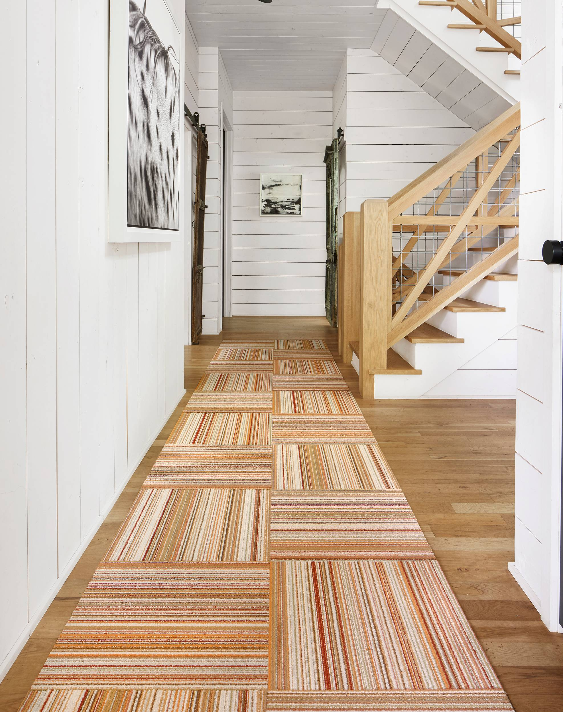 Rustic staircase and hallway