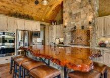 Rustic stone kitchen with live edge countertop
