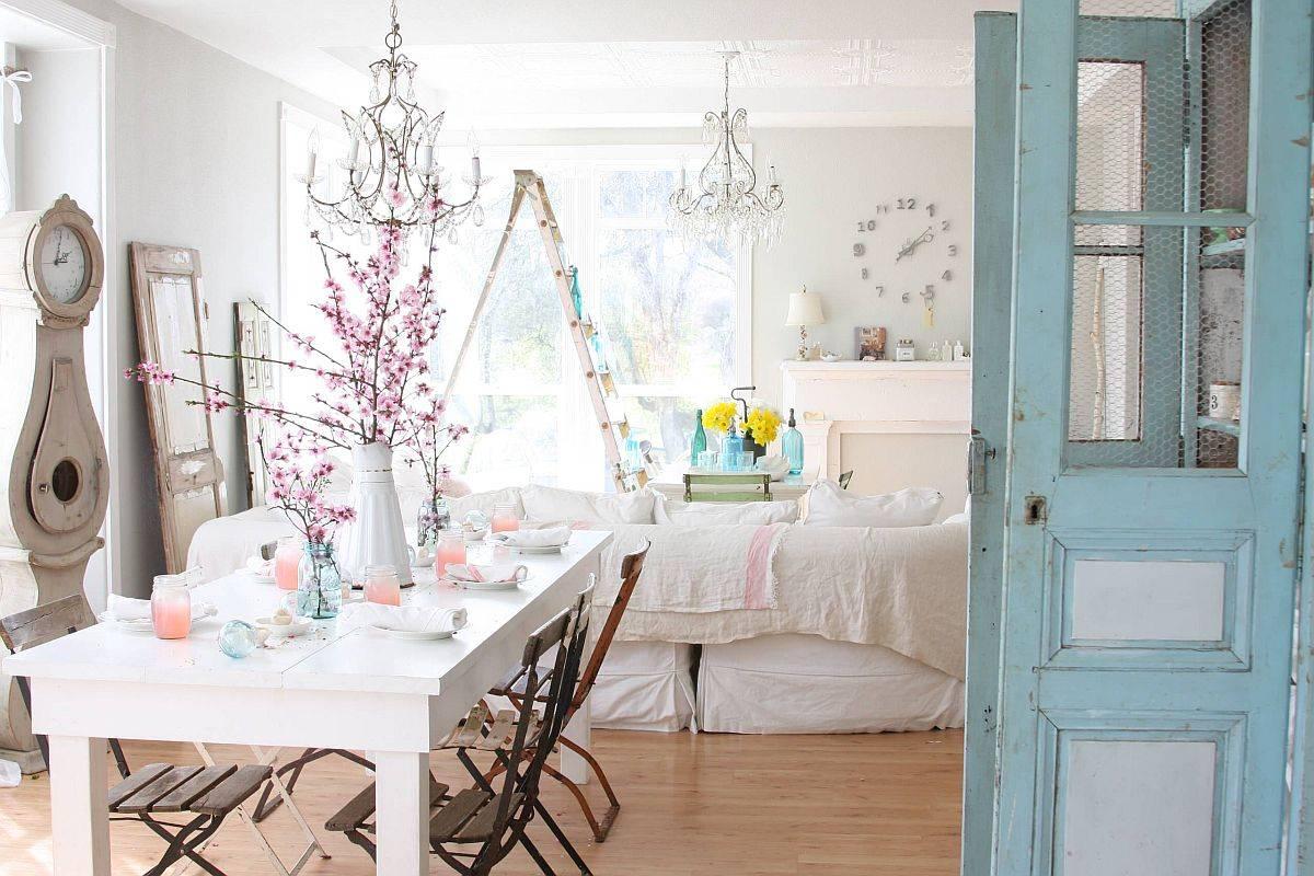 Shabby-chic-makan-area-dan-ruang tamu-dengan-dekorasi-putih-dan-banyak-selesai alami-80186