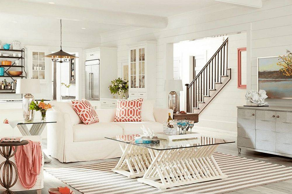 Shiplap-walls-in-the-small-becah-style-living-room-connect-it-visually-with-the-spaces-next-to-it-92288
