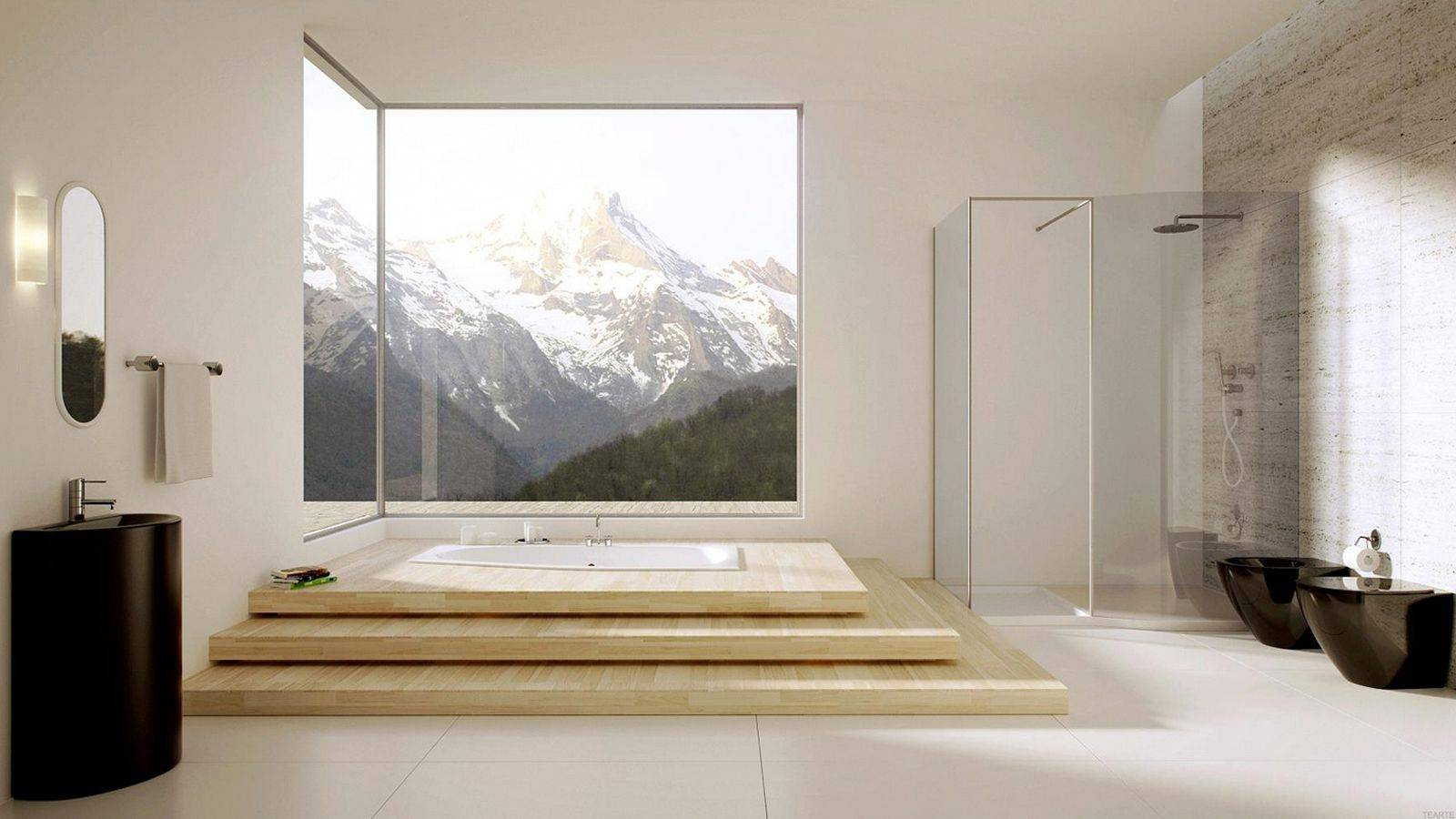 Shower Space And Sunken Bathtub Combined