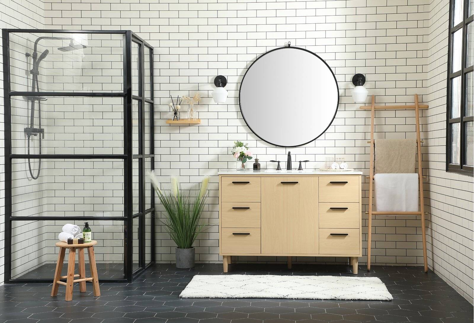 Shower room with round mirror and vanity