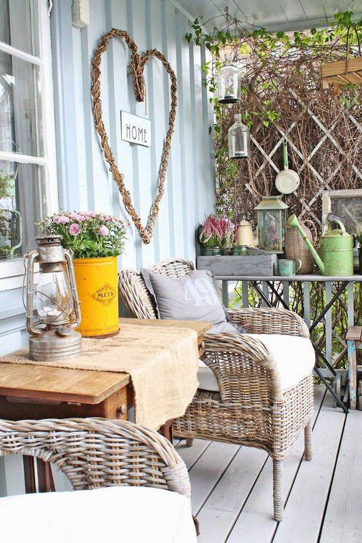 Small and modern shabby-chic style porch decorating ideas with naural goodness