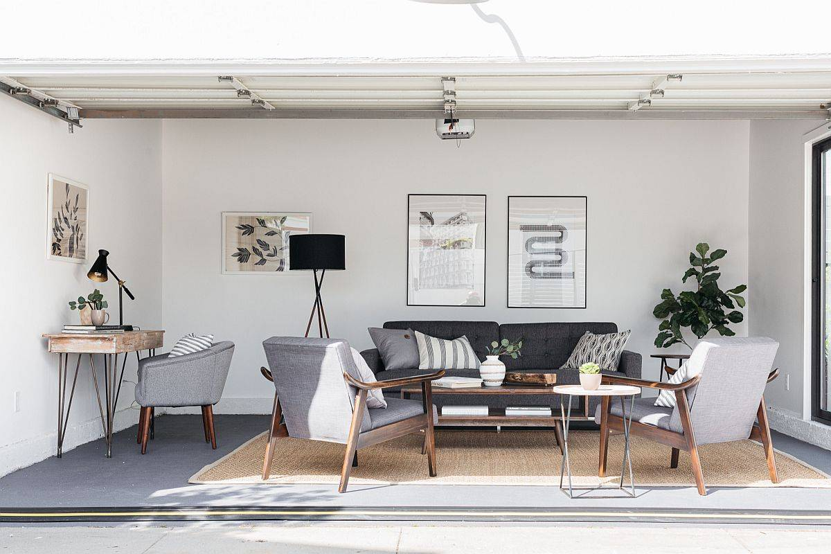 Smart-modern-farmhouse-style-family-room-in-gray-with-small-workstation-in-the-corner-54388